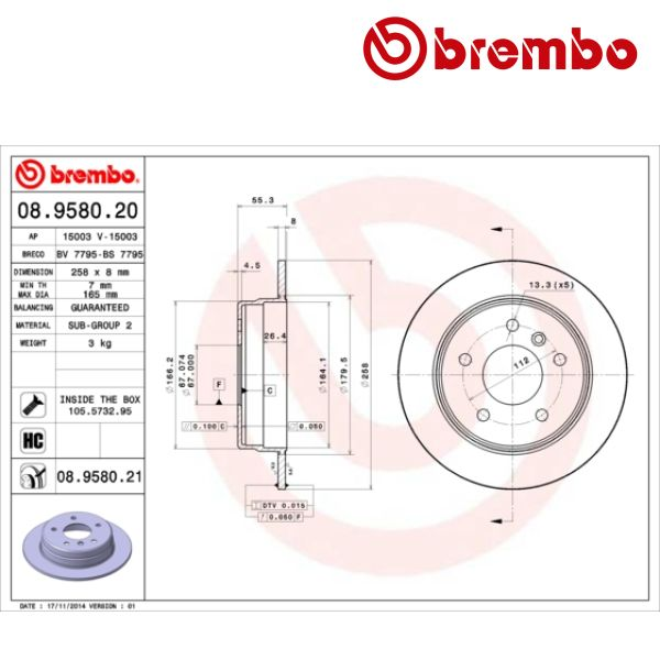 Remschijven achterzijde Brembo premium MERCEDES-BENZ A-KLASSE (W168) A 190