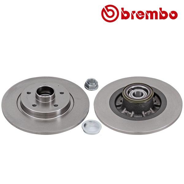 Remschijven achterzijde inclusief lagers en ABS-ring Brembo premium RENAULT KANGOO / GRAND KANGOO 1.6 16V FLEX