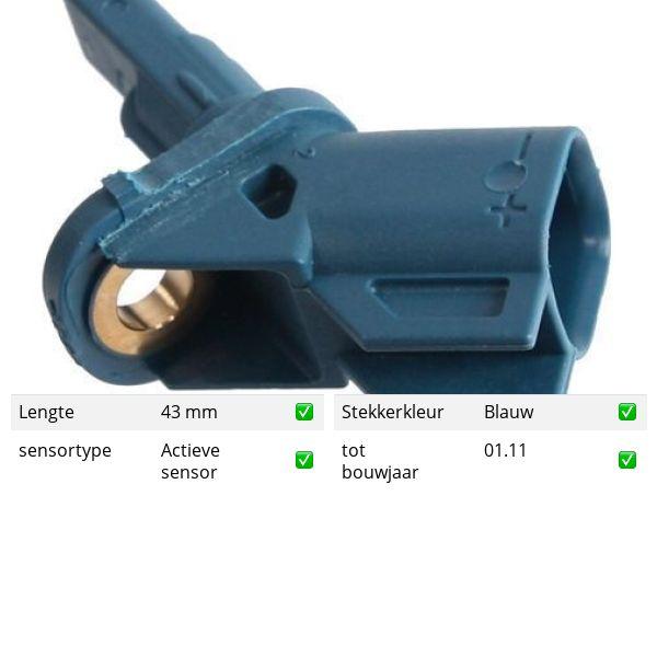 ABS-sensor voorzijde, links of rechts ASTON MARTIN VANQUISH Vantage 6.0 S