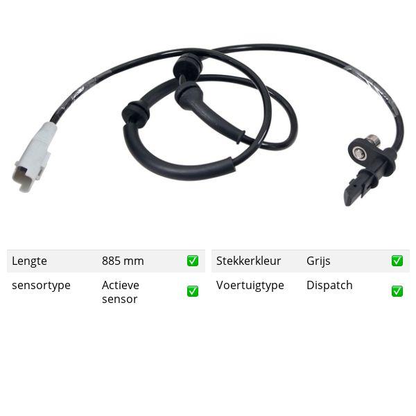 ABS-sensor voorzijde, links of rechts CITROEN JUMPY Open laadbak/ Chassis 1.6 HDi 90 16V