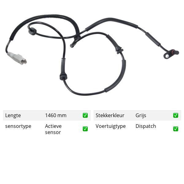 ABS-sensor achterzijde, links of rechts CITROEN JUMPY Open laadbak/ Chassis 1.6 HDi 90 16V