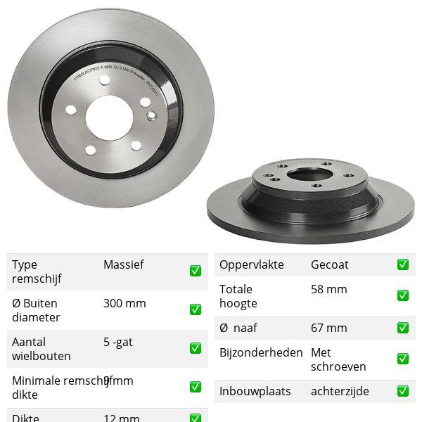 Remschijven achterzijde Brembo premium MERCEDES-BENZ V-KLASSE (W447) V 220 CDI / d 4-matic