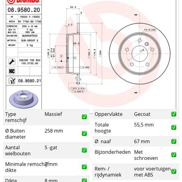 Remschijven achterzijde Brembo premium MERCEDES-BENZ VANEO (414) 1.9