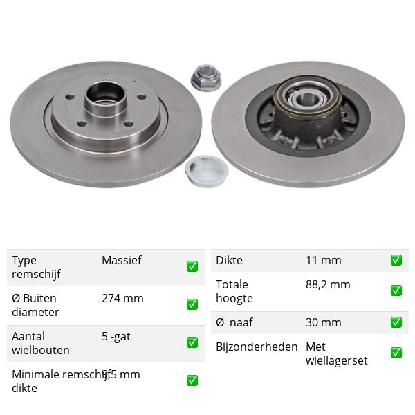 Remschijven achterzijde inclusief lagers en ABS-ring Brembo premium RENAULT KANGOO / GRAND KANGOO 1.6 16V
